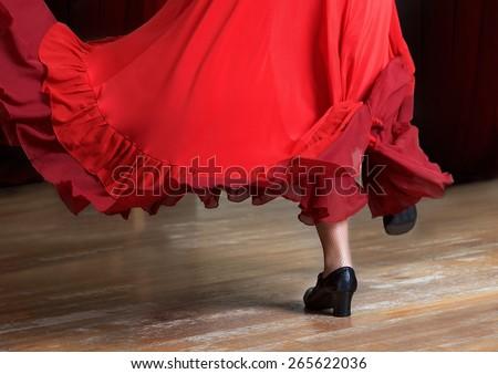 Photo of flamenco dancer. Legs fragment photo of spanish flamenco dancer.  Only legs cropped Foto stock ©