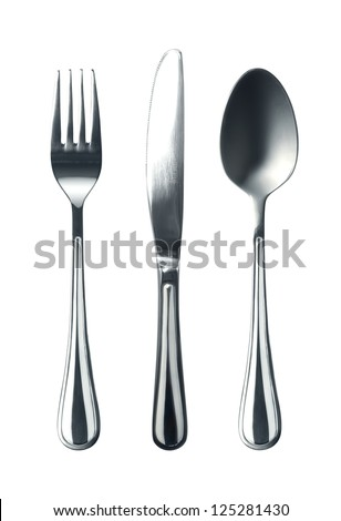 Photo of fork knife and spoon on white background