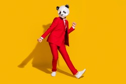 Photo of freak panda guy enjoy funky discotheque motion wear mask red tuxedo shoes isolated on yellow color background
