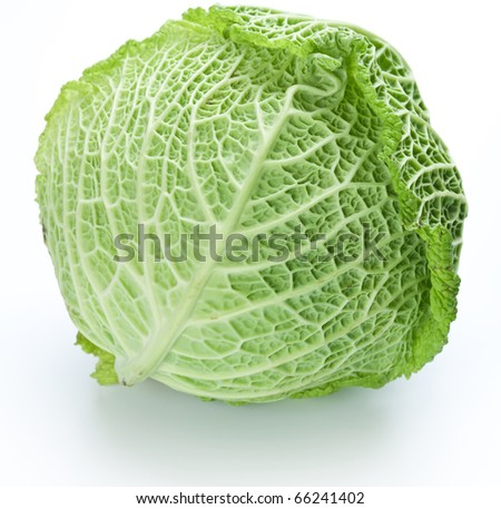 Photo of fresh cabbage on a white background