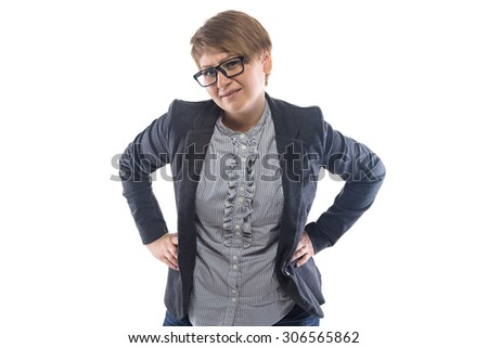Photo of frowned pudgy woman with hands on hips on white background