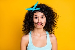 Photo of funny funky wavy lady dressed turquoise tank-top make hair fake mustaches isolated yellow color background