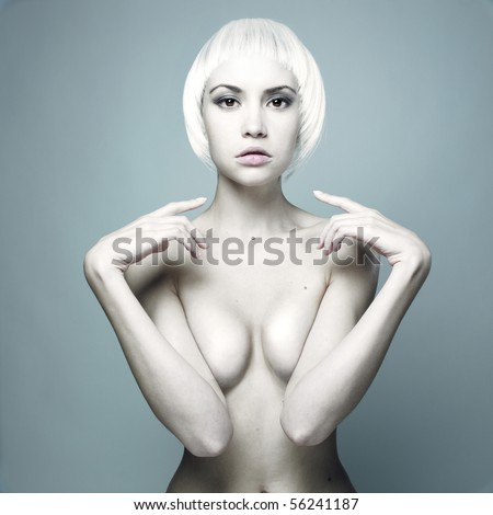 Photo of futuristic nude woman with blond hair