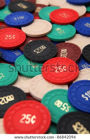 Photo of generic antique poker chips.