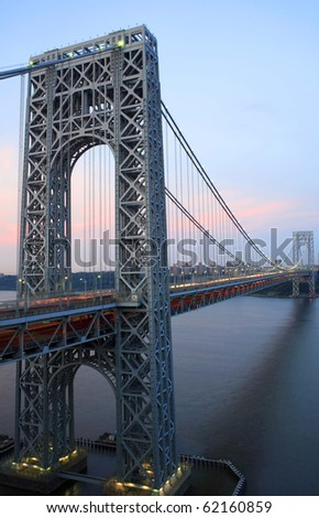 Photo of George Washington Bridge connecting New York and New Jersey as viewed from Fort Lee, New Jersey.  Photographed June, 2007.