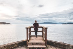 Photo of Girl at Pier at Jericho Beach Park in Vancouver, BC, Canada