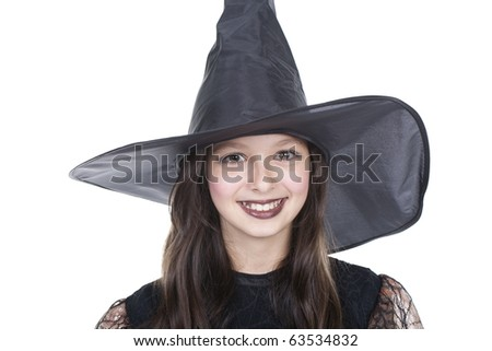 Photo of girl in halloween costume and smilling
