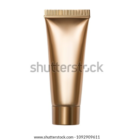 Photo of golden tube with cosmetic product isolated on white background