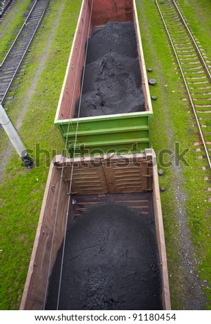 Photo of Goods wagons with coal dust, Odessa railway station - stock photo