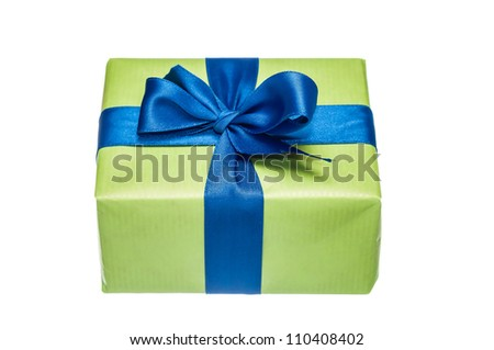 Photo of green gift box with a blue ribbon isolated on white background