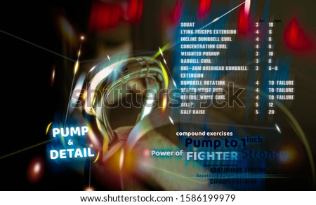 Photo of Gym for home workouts. Information for exercise. Poster for gyms. Exercise Pump and Detail routines for you.