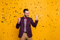 Photo of handsome wealthy clothes stylish guy business man well-dressed confetti falling successful best worker of year wear specs tie bow shirt blazer pants isolated yellow color background