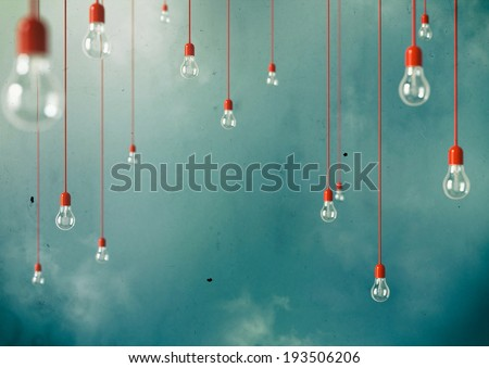 Photo of Hanging light bulbs with depth of field. Modern art #193506206