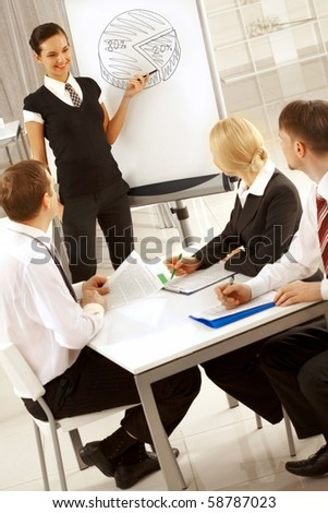 Photo of happy businesswoman sharing her ideas by whiteboard with partners