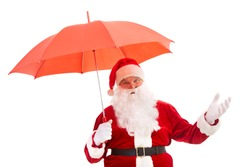 Photo of happy Santa Claus with red umbrella in isolation