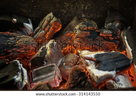 Photo of Hot Red, Orange and Black Burning Wood Charcoal Coal for BBQ Party, Grill Meat
