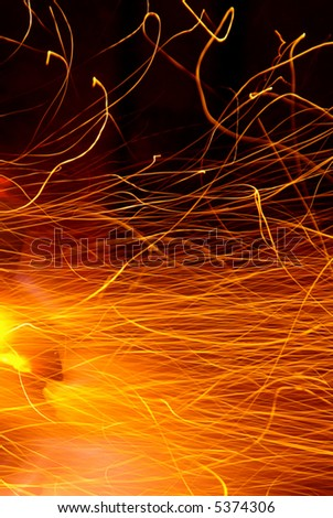 Photo of hot sparks dancing in a barbecue