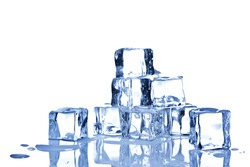 Photo of ice cubes isolated on a white background.