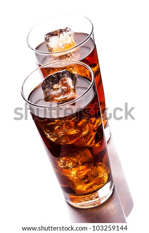 photo of ice tea with ice cubes on white background
