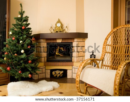 Photo of interior of room prepared for celebrating Christmas day - stock photo