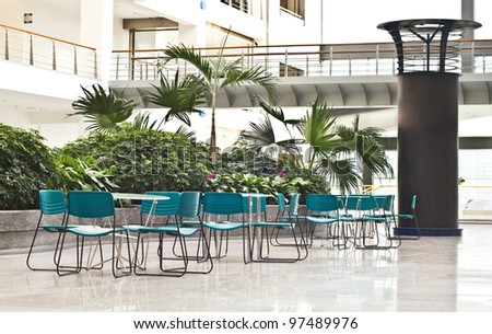 Photo of interior spaces of relaxation area in modern office buildings