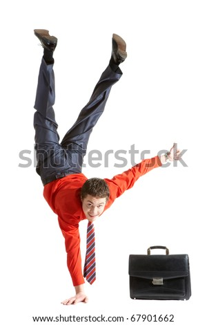 Photo of isolated young man showing sign of okay while keeping on right arm - stock photo