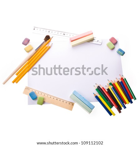 Photo of Items for school student gear over white background - Back to school concept