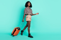 Photo of lady go carry luggage case wear leopard print shirt shorts footwear isolated turquoise color background