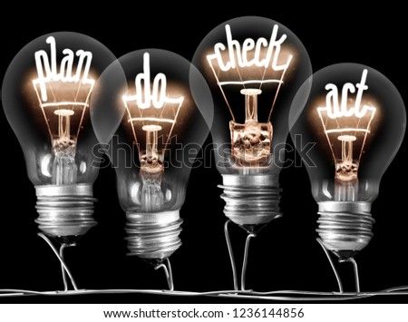 Photo of light bulb group with shining fibers in PLAN, DO, CHECK and ACT shape isolated on black background; concept of Business Process, Four Step Management #1236144856
