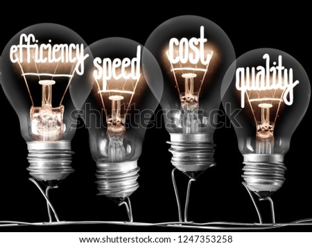 Photo of light bulb group with shining fibers in SCOPE, QUALITY, TIME and COST shape isolated on black background #1247353258