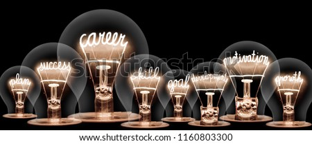 Photo of light bulb with shining fibers in shapes of CAREER concept related words isolated on black background #1160803300