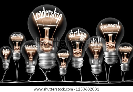 Photo of light bulbs group with shining fibers in a shape of LEADERSHIP concept related words isolated on black background #1250682031