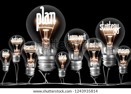 Photo of light bulbs group with shining fibers in a shape of PLAN concept related words isolated on black background #1243935814