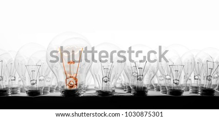 Photo of light bulbs in rows with shining one of them on white background; concept of standing out, uniqueness and idea