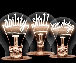 Photo of light bulbs with shining fibers in ABILITY, SKILL, KNOWLEDGE shape on black background