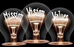 Photo of light bulbs with shining fibers in MISSION, VISION, VALUES shape on black background