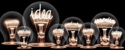 Photo of light bulbs with shining fibers in shapes of IDEA and INNOVATION concept related words isolated on black background