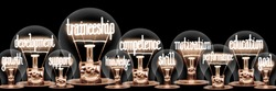 Photo of light bulbs with shining fibers in Traineeship, Education, Development, Competence and Motivation shape isolated on black background.