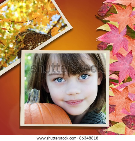 Photo of little girl over a background with colorful autumn leaves.