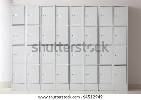 Photo of locker with many cells and numbering