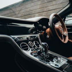 Photo of luxurious car interior. Inside of a fancy car