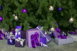 Photo of luxury gift boxes under Christmas tree, New Year home decorations,  wrapping of Santa presents, festive fir tree decorated with garland, baubles and angels, traditional celebration