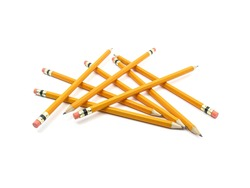 Photo of many yellow pencils with a red rubber isolated on white background