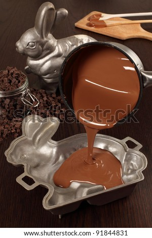 Photo of melted milk chocolate being poured into a aluminum mold of a bunny for an Easter treat.