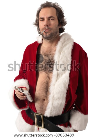 Photo of middle-aged adult man dressed in Santa clothes, smoking and holding alcohol flask.