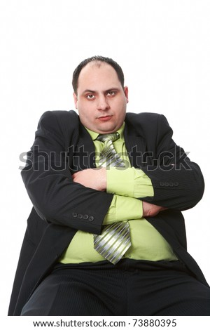 Photo of middle aged employer in suit on white background