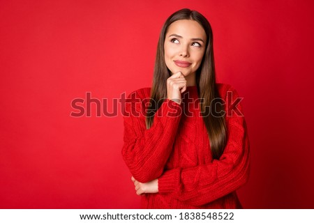 Photo of minded girl think thoughts look copyspace wear knitted jumper isolated on bright red color background