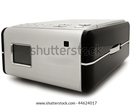 Photo of modern digital cd player against the white