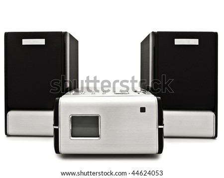 Photo of modern digital cd player against the white background