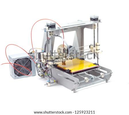 Photo of modern machine. 3-D printer